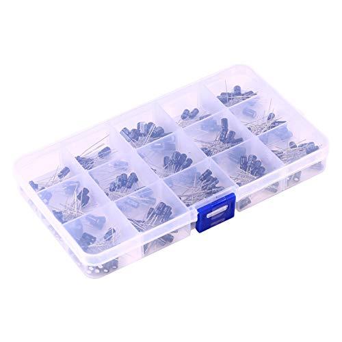 Kit surtido de condensadores electrolíticos, 200 piezas Diy 15, rango de modelo de capacitancia, 0,1 uf-220 uf, herramienta con caja, para componentes electrónicos al hacer circuitos