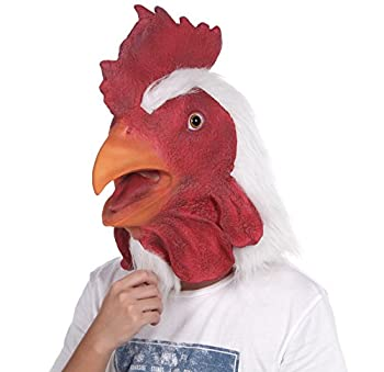 Lubber Rooster Latex Animal Head Mask For Costume  Red