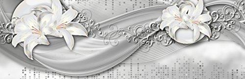 wandmotiv24 Küchenrückwand abstrakte Lilien grau Silber 160 x 50cm (B x H) - Acrylglas 4mm Nischenrückwand Spritzschutz Fliesenspiegel-Ersatz M0524