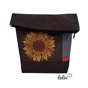 Foldover Tasche Sonnenblume Stickerei handmade Foldovertasche