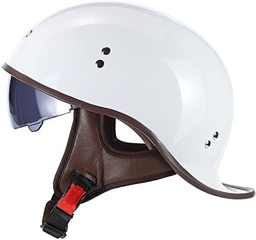 Vintage Casco De Motocicleta,con Visera Cascos Abiertos de Moto Casco Moto Jet ECE Homologado Half-Helmet,para Hombres/Mujeres Adultos Medio Casco I,L 57-58