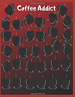 Coffee Addict: It's Raining Coffee Cups 8.5x11 Notebook or Journal