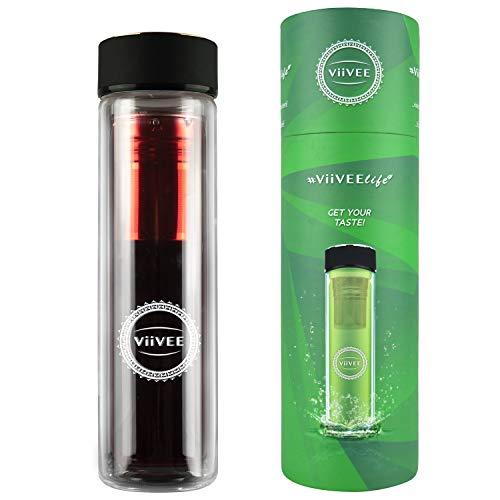 Viivee Life ® Theefles To Go 500ml glazen drinkfles theepot dubbelwandig met zeef 100% BPA vrij voor thee | Detox | Smoothie | Infused Fruit Water 500ml zwart