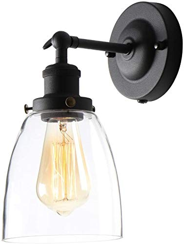 AILIN Industrial Metal Vintage Single Sconce with Oval Cone Clear Glass Shade 180 Degree Adjustable Black Wall Sconce Wall Lamp 1-Light