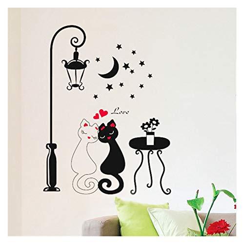 Escaleras pegatinas Pareja gato calle lámpara de la pared pegatina de pared amantes románticos decoración de papel pintado decoración para niños piso escaleras calcomanías de pared decoración del hoga