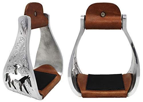Challenger Horse Saddle Western Aluminium Bell Engraved Cut-Out Stirrups 51146