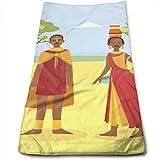 YudoHong Familia Africana Pareja Joven Hombre y Mujer en Ropa Nacional Tradicional sobre Fondo de Paisaje de Sabana Africana Vector ilustración Cotto