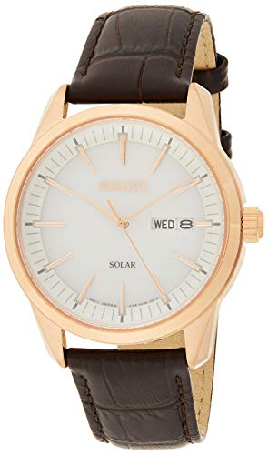 Seiko Solar Herren-Uhr Edelstahl mit Lederband SNE530P1