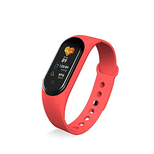 Szaerfa M5 Smart Band Braccialetto, IP67 Impermeabile Smart Watch Braccialetti Smartband Pressione sanguigna / Cardiofrequenzimetro / Pedometro Braccialetto sportivo Fitness Activity Tracker (Rosso)