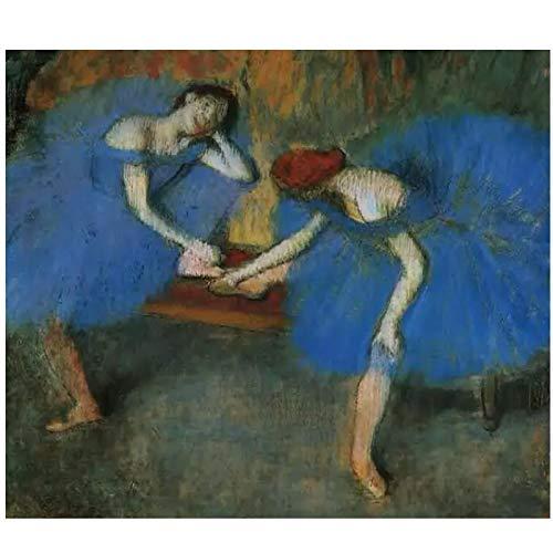 Edgar Degas pintado a mano dos bailarines en azul (1899) cartel de arte de pared para sala de estar impresiones en lienzo decoración del hogar-24x32 en sin marco