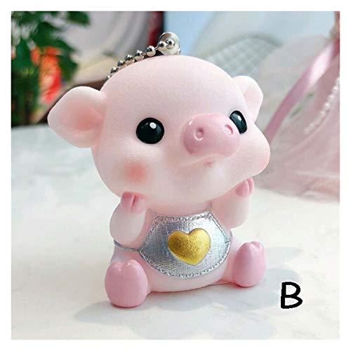 Kfdzsw Cartoon Key Pendant Cartoon Pig Keychains Cute Rabbit Fur Pom Pom Key Chain Key Ring Women Bag Pendant Car Keyring Best Gifts (Color : B)