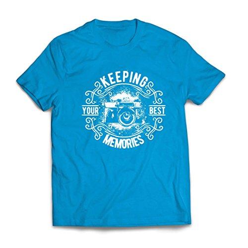 lepni.me Camisetas Hombre Cámara del fotógrafo, Foto - manteniendo Sus Mejores Recuerdos, Amante de la fotografía (X-Large Azul Multicolor)