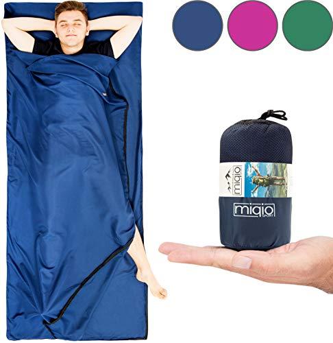 Miqio® 2in1 Hüttenschlafsack mit durchgängigem Reißverschluss (Links oder rechts): Leichter Komfort Reiseschlafsack und XL Reisedecke in Einem - Sommer Schlafsack Innenschlafsack Inlett Inlay - Blau