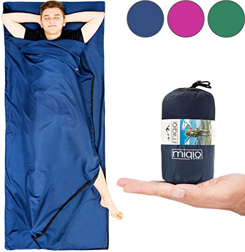 MIQIO 2-in-1 Sleeping Bag Liner and Lightweight XL Size Double Travel Bed Sheet
