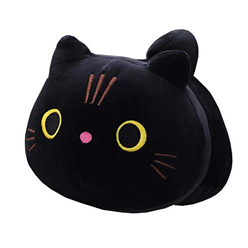 Hofun4U Black Cat Plush Pillow, 12.5 Inch Cat Stuffed Animal, Kawaii Kitty Plush Doll Toy Anime Cat Soft Throw Pillow Christmas Birthday Party for Adults Kids Girls Boys