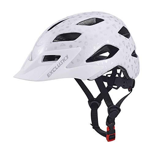 Exclusky Kinder Jugend Fahrrad Helm Skating Roller einstellbar 50-57cm (Alter 5-13) (Weiß)