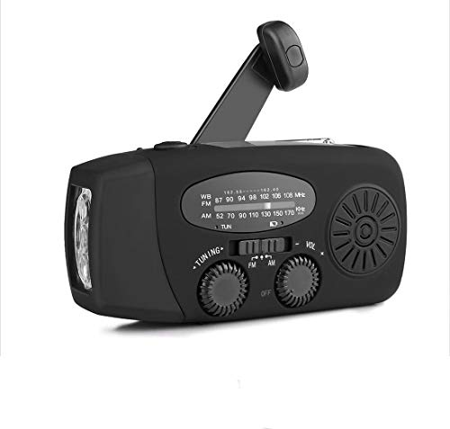 CZAING Portable Solar Powered Radio, Hand Crank AM/FM...