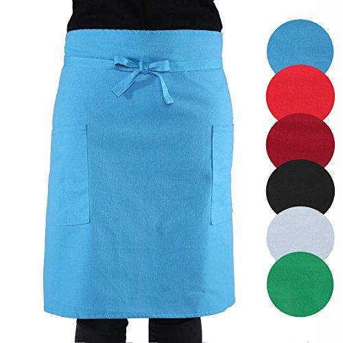sinnlein® schort kookschort keukenschort 100% katoen | met 2 zakken | verkrijgbaar in 6 kleuren - perfect als barbecueschort en bakschort (blauw)