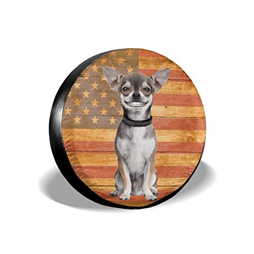 Deaowangluo Spare Tire Cover Chihuahua Pet Sitting French Bulldog Japanese Chin Smile Dog Trailer RV SUV Covers Universal 17 Inch