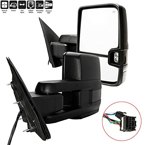 Best Prices! Towing Mirrors, Compatible with 15-17 CGMC Sierra 2500/3500 HD Power Heated Smoked LED Signa