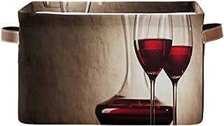 Doshine Panier de rangement vintage pliable pour verres à vin rouge avec poignées Grand cube de rangement Panier à linge p...