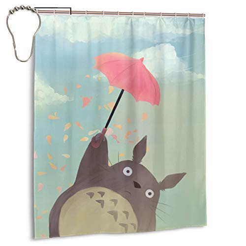Totoro Shower Curtain Water Proof Fashion Bath Curtain Decorate Bathroom Curtains Shower Curtains for Farmhouse Bathroom Decor 60 x 72 Inches Set with Iron Hooks