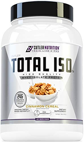 Total ISO Whey Isolate Protein Powder: Best Tasting Whey Protein Shake Featuring 100% Whey Protein Isolate, Perfect Post Workout Protein Powder Mix and Meal Replacement Drink, Cinna Cereal, 2 Pounds