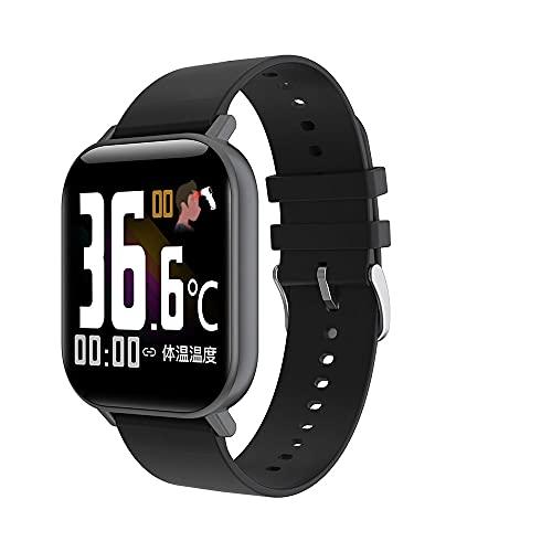 Relojes inteligentes, relojes de temperatura recargables, podómetro de seguimiento de actividad de oxígeno en sangre de frecuencia cardíaca adecuado para regalos para hombres y mujeres,Negro