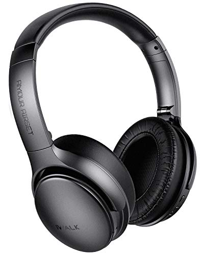 Wireless Noise Cancelling Headphones with Microphone iWALK, Wireless Wired Deep Bass Wireless Headphones Over Ear, Protein Earpads 35H Playtime for Travel/Work/TV/Computer/Cellphone - Black
