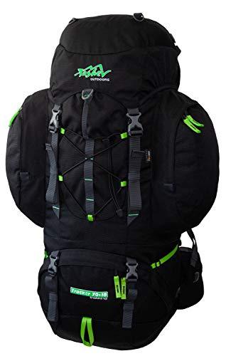 Tashev Outdoors Tracker Trekkingrucksack Wanderrucksack Damen Herren Backpacker Rucksack groß 70l Plus 10l Schwarz & Grün (Hergestellt in EU)