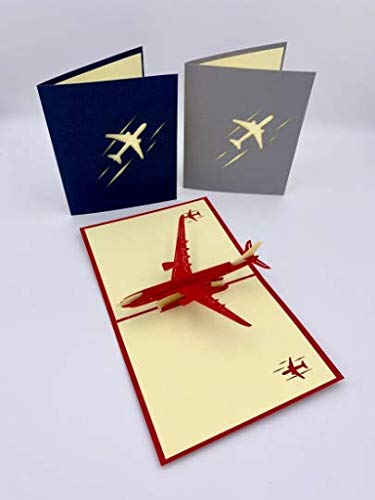 Kami 3D Pop up Card Flight Attendant Pilot Graduation Milestones Aviator Plane Lover Celebrate Success Jet Blank Greeting Card (Red)