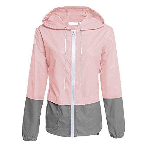 Cappotti da pioggia da donna impermeabili con cappuccio, colore blocco a vento cerniera giacche da pioggia leggero con coulisse, Rosa e grigio., XL