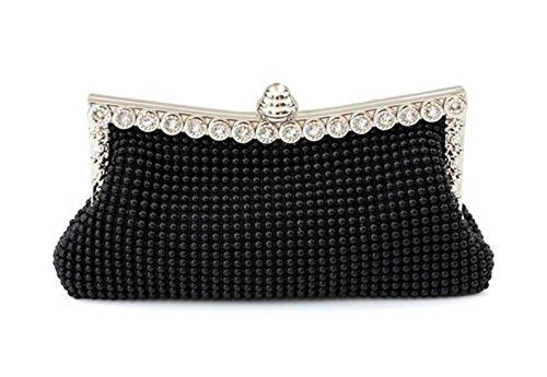 Damen Österreichische Strass Banketttasche Abendkleid Klassische Kupplung Partytasche (schwarz)