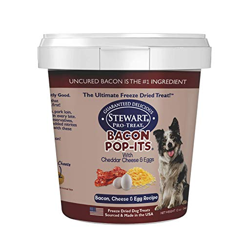 Stewart Bacon Pop-Its Dog Treats Made in The USA (Limited Ingredient Freeze Dried Dog Treats) Resealable Tub to Preserve Freshness, Bacon, Egg, & Cheese Recipe, 12 oz.