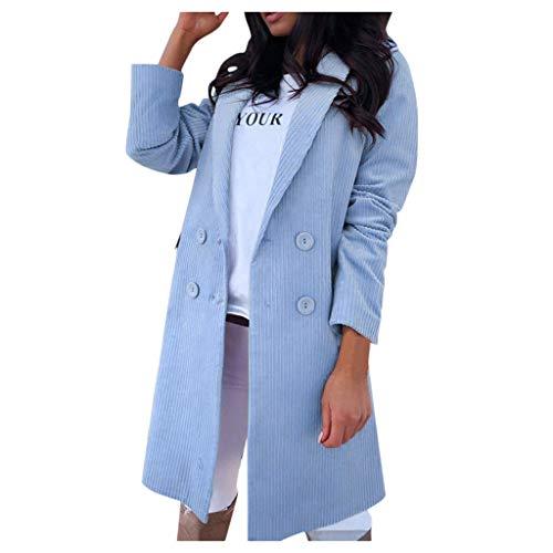 Reooly Mujer Abrigo Largo de Lana Elegante Abrigo Mixto Chaqueta Delgada Mujer Abrigo Largo