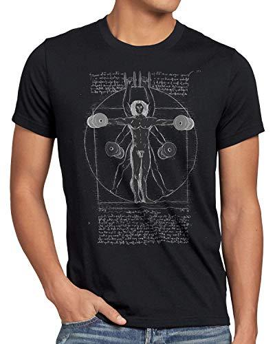 style3 Vitruvianischer Mensch mit Kurzhantel Herren T-Shirt Butterfly Rudern Training, Größe:4XL, Farbe:Schwarz