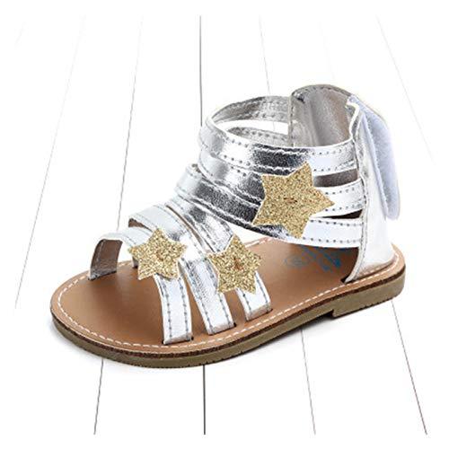 WanXingY Top Girls Sandalias de bebé Sandalias Hecho A Mano Estrella Hard Sole Baby Shoes Newborn Baby Shoes AS Sandalias Romanas Antideslizantes Silver Playa Zapatos (Color : Silver, Size : 2)