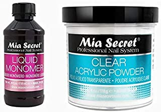 Mia Secret Professional Liquid Monomer, Clear Acrylic Powder Nail System and Earrings, 4Oz