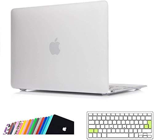 iNeseon Funda MacBook 12 Pulgada(Modelo A1534), Rígida Carcasa Case y Cubierta del Teclado Transparente EU Layout para 2015-2017 MacBook 12 Retina, Claro Helado