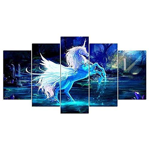 COCOCI Lienzo 5 Piezas White & Blue Fantasy Unicorn Horse Lienzos Decorativos Cuadros Grandes Baratos Cuadros Decoracion Cuadros para Dormitorios Modernos Cuadros Decoracion Regalos Personalizados