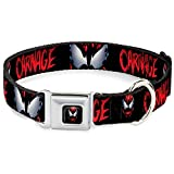 Buckle-Down Dog Collar Seatbelt Buckle Carnage Face Black White 15 to 26 Inches 1.0 Inch Wide (DC-WVN005-L)