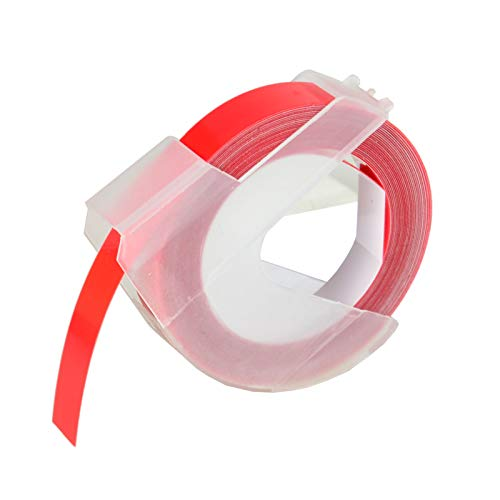 """KCMYTONER 1 roll Pack Replace 3D Plastic Embossing Labels Tape for Embossing White on Red 3/8"""" x 9.8' 9mm x 3m 520102 Compatible for Dymo Executive III Embosser 1011 1550 1570 1610 Label Markers"""