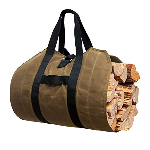 Gialer Firewood Carrier, Heavy Duty Canvas Firewood Bag, Large Canvas Log Tote Bag Wood Stove Accessories, Campfire, Fireplace Accessoris Wood Holder Indoor, Bonfire, Outdoor Camping Canvas Bags