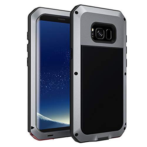 seacosmo Funda Compatible con Galaxy S8, [Rugged Armour] Carcasa de Protección Aleación de Aluminio Heavy Duty Metal Prueba a Choques [Sin Protector de Pantalla] para Samsung S8, Plata
