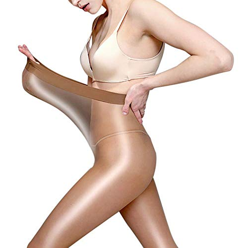 Women 60D Shaping Stockings Plus Size Sexy Pantyhose Flash Oil Shiny Dance Socks Ultra Shimmery Stretch Skinny Tight (Coffee)