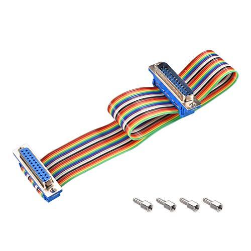 sourcing map Cable Plano de Cinta Arco Iris IDC DB25 M/F Conector en Paso de 254 mm de 118 Pulgadas de Largo
