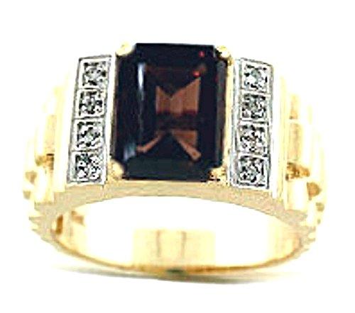 Mens Diamond & Simulado Anillo de cuarzo ahumado 14K oro amarillo o 14K oro blanco