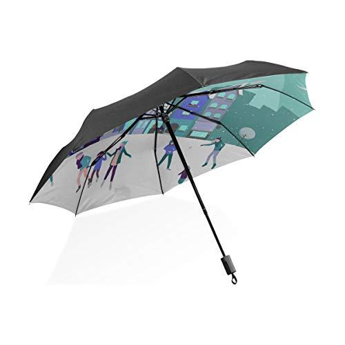 Paraguas Lluvia Gente Patinando sobre la Pista de Hielo Paraguas Plegable portátil Compacto Protección Anti UV A Prueba de Viento Viajes al Aire Libre Mujeres Viaje Paraguas a Prueba de Viento