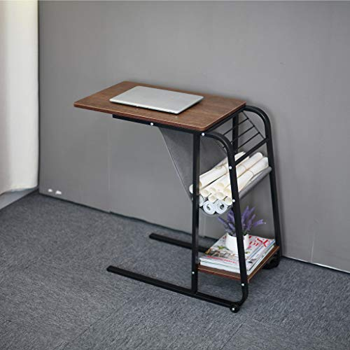 Home Lift Computer Table Multifunction Mini Office Desk Adjustable Lazy Study Desk Portable Small Coffee Table End Table Corner Bedside Table Gaming Desk with Movable Pulley (Coffee)