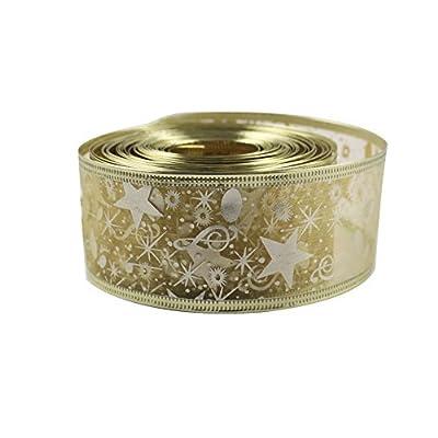 OurWarm? Printing Ribbon Swirl Wired Sheer Glitter Ribbon 10Y Gold